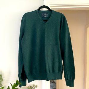 Mens Regular Fit Green Cotton Jumper Sweater